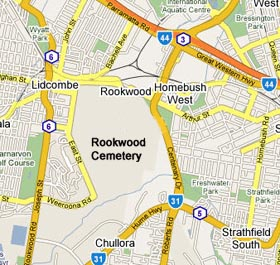 Rookwood Cemetery road access diagram